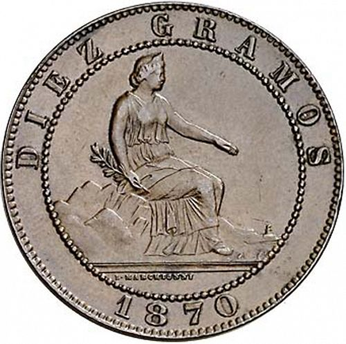 10 Céntimos Obverse Image minted in SPAIN in 1870 (1868-70  -  PROVISIONAL GOVERNMENT)  - The Coin Database