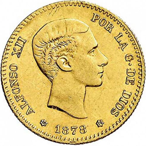 10 Pesetas Obverse Image minted in SPAIN in 1878 / 78 (1874-85  -  ALFONSO XII)  - The Coin Database