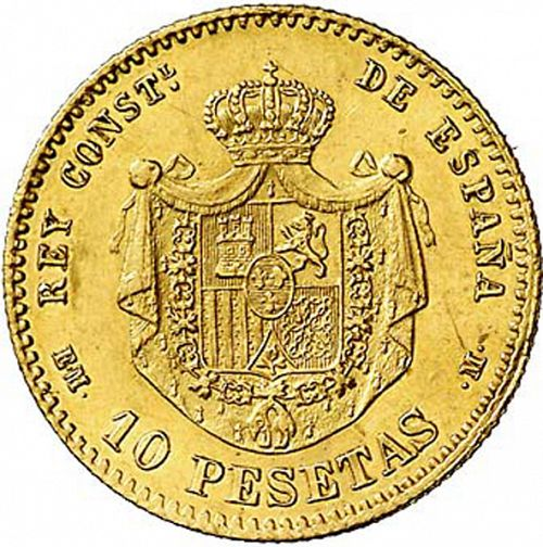 10 Pesetas Reverse Image minted in SPAIN in 1878 / 78 (1874-85  -  ALFONSO XII)  - The Coin Database