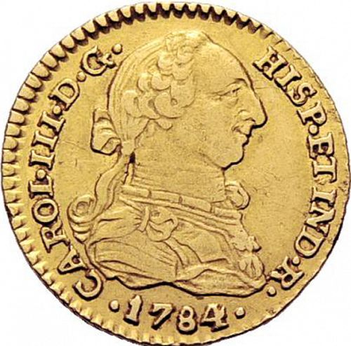 1 Escudo Obverse Image minted in SPAIN in 1784V (1759-88  -  CARLOS III)  - The Coin Database