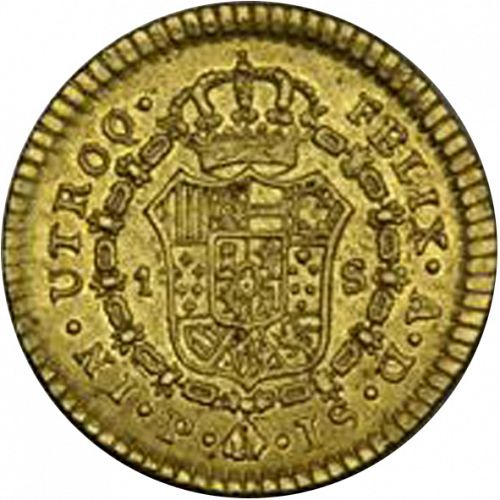 1 Escudo Reverse Image minted in SPAIN in 1772JS (1759-88  -  CARLOS III)  - The Coin Database