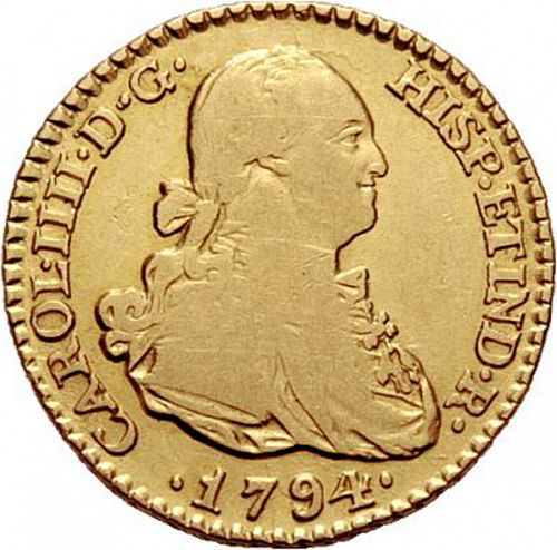 1 Escudo Obverse Image minted in SPAIN in 1794MF (1788-08  -  CARLOS IV)  - The Coin Database