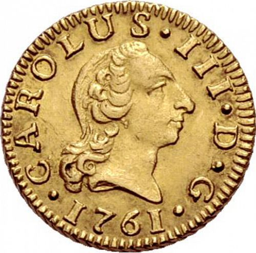 half Escudo Obverse Image minted in SPAIN in 1761JV (1759-88  -  CARLOS III)  - The Coin Database