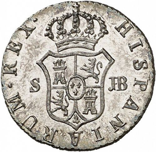 half Real Reverse Image minted in SPAIN in 1832JB (1808-33  -  FERNANDO VII)  - The Coin Database