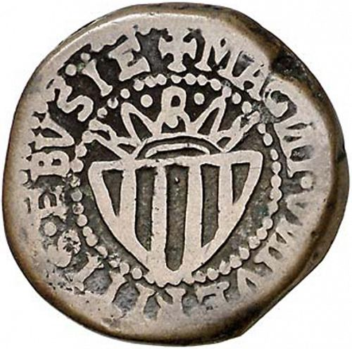 1 Cinquena Reverse Image minted in SPAIN in 1686 (1665-00  -  CARLOS II - Local Coinage)  - The Coin Database