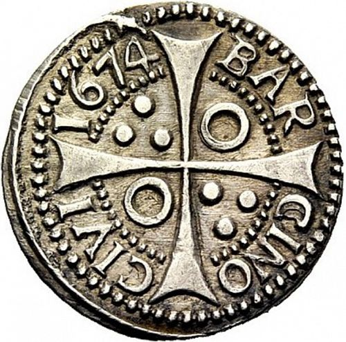 1 Croat Reverse Image minted in SPAIN in 1674 (1665-00  -  CARLOS II - Local Coinage)  - The Coin Database