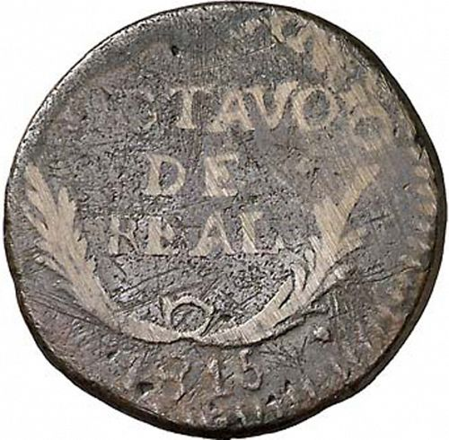 1 Octavo Reverse Image minted in SPAIN in 1815 (1810-22  -  FERNANDO VII - Independence War)  - The Coin Database