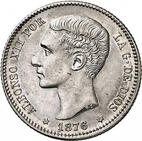 1 Peseta Obverse Image minted in SPAIN in 1876 / 76 (1874-85  -  ALFONSO XII)  - The Coin Database