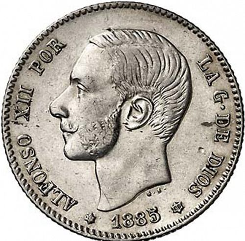 1 Peseta Obverse Image minted in SPAIN in 1885 / 86 (1874-85  -  ALFONSO XII)  - The Coin Database