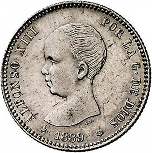 1 Peseta Obverse Image minted in SPAIN in 1889 / 89 (1886-31  -  ALFONSO XIII)  - The Coin Database
