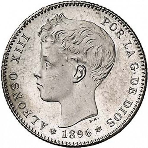 1 Peseta Obverse Image minted in SPAIN in 1896 / 96 (1886-31  -  ALFONSO XIII)  - The Coin Database