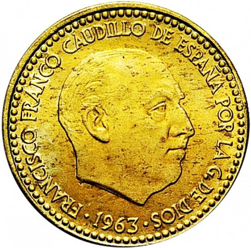 1 Peseta Obverse Image minted in SPAIN in 1963 / 67 (1936-75  -  NATIONALIST GOVERMENT)  - The Coin Database