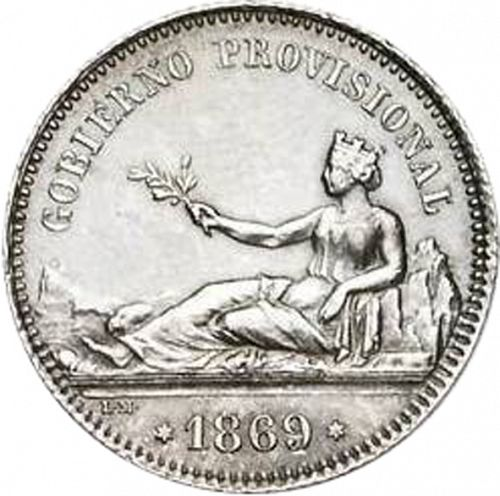 1 Peseta Obverse Image minted in SPAIN in 1869 / 69 (1868-70  -  PROVISIONAL GOVERNMENT)  - The Coin Database
