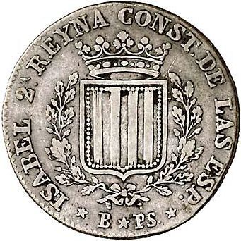 1 Peseta Obverse Image minted in SPAIN in 1836PS (1833-48  -  ISABEL II - Catalonia Principality)  - The Coin Database