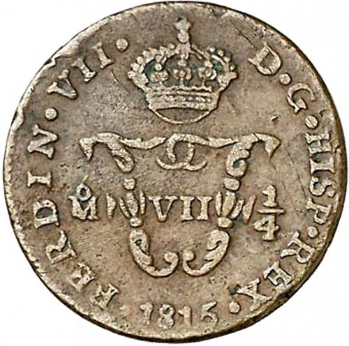 1 Quarto Obverse Image minted in SPAIN in 1815 (1808-33  -  FERNANDO VII - Local coinage)  - The Coin Database