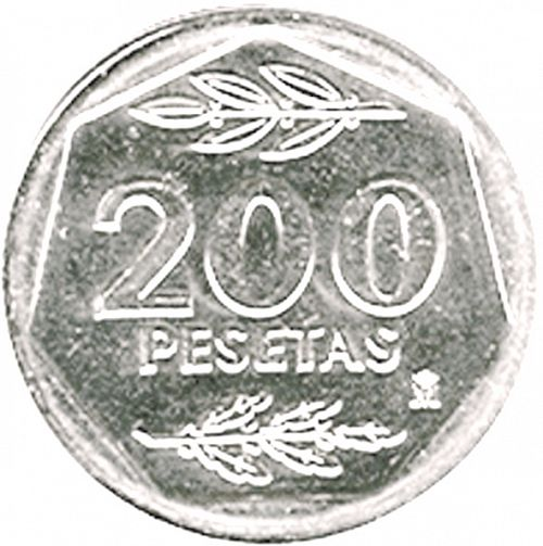 200 Pesetas Reverse Image minted in SPAIN in 1988 (1982-01  -  JUAN CARLOS I - New Design)  - The Coin Database