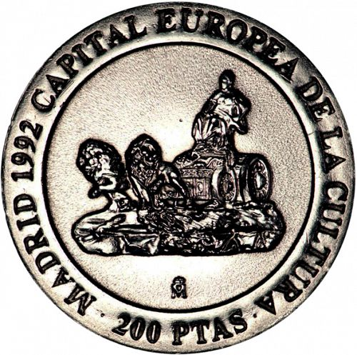 200 Pesetas Reverse Image minted in SPAIN in 1991 (1982-01  -  JUAN CARLOS I - New Design)  - The Coin Database