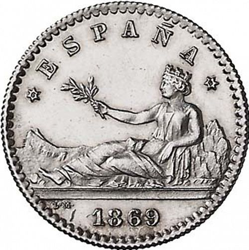 20 Céntimos Obverse Image minted in SPAIN in 1869 / 69 (1868-70  -  PROVISIONAL GOVERNMENT)  - The Coin Database