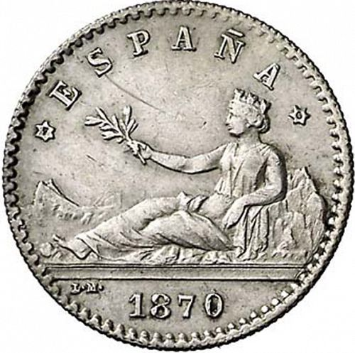 20 Céntimos Obverse Image minted in SPAIN in 1870 / 70 (1868-70  -  PROVISIONAL GOVERNMENT)  - The Coin Database