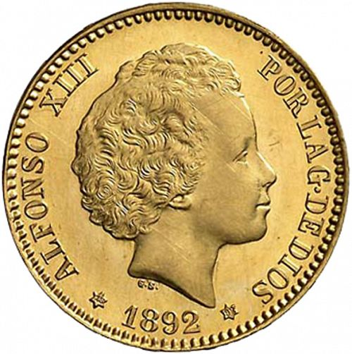 20 Pesetas Obverse Image minted in SPAIN in 1892 / 92 (1886-31  -  ALFONSO XIII)  - The Coin Database
