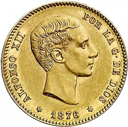 25 Pesetas Obverse Image minted in SPAIN in 1876 / 76 (1874-85  -  ALFONSO XII)  - The Coin Database