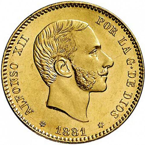 25 Pesetas Obverse Image minted in SPAIN in 1881 / 81 (1874-85  -  ALFONSO XII)  - The Coin Database