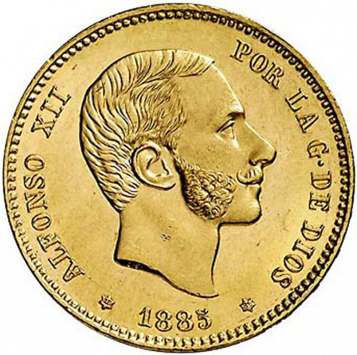 25 Pesetas Obverse Image minted in SPAIN in 1885 / 86 (1874-85  -  ALFONSO XII)  - The Coin Database