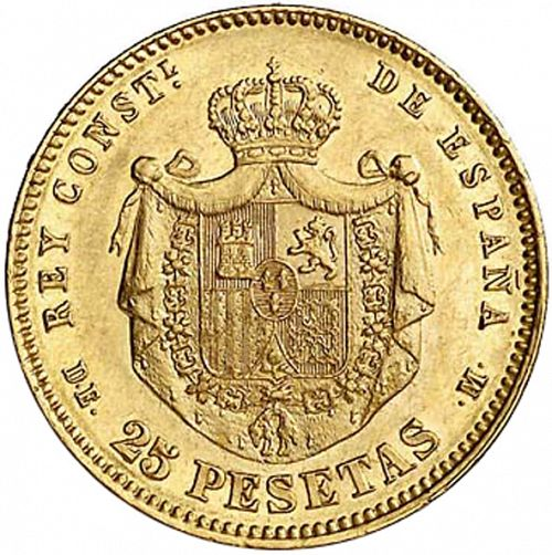 25 Pesetas Reverse Image minted in SPAIN in 1876 / 76 (1874-85  -  ALFONSO XII)  - The Coin Database