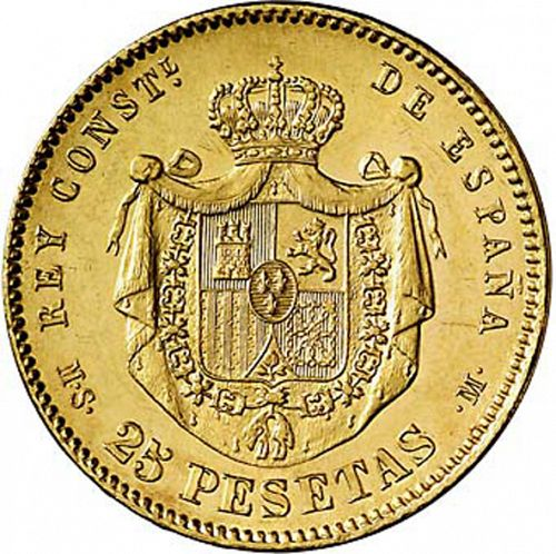 25 Pesetas Reverse Image minted in SPAIN in 1881 / 81 (1874-85  -  ALFONSO XII)  - The Coin Database