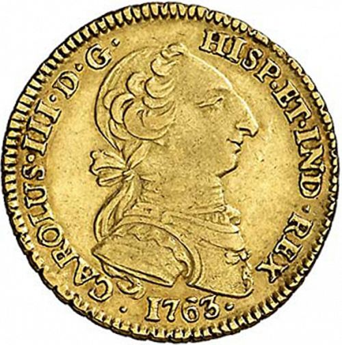 2 Escudos Obverse Image minted in SPAIN in 1763MF (1759-88  -  CARLOS III)  - The Coin Database
