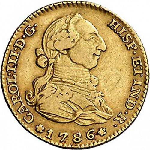 2 Escudos Obverse Image minted in SPAIN in 1786DV (1759-88  -  CARLOS III)  - The Coin Database