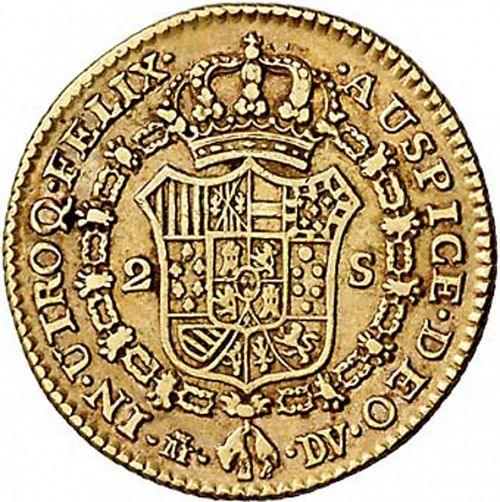 2 Escudos Reverse Image minted in SPAIN in 1786DV (1759-88  -  CARLOS III)  - The Coin Database