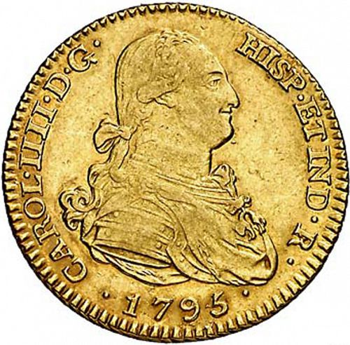 2 Escudos Obverse Image minted in SPAIN in 1795MF (1788-08  -  CARLOS IV)  - The Coin Database