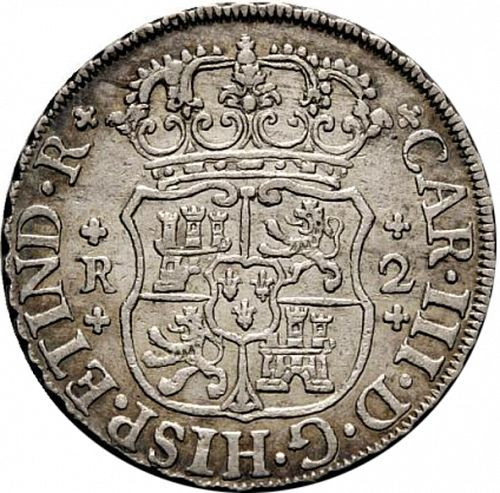 2 Reales Obverse Image minted in SPAIN in 1761M (1759-88  -  CARLOS III)  - The Coin Database