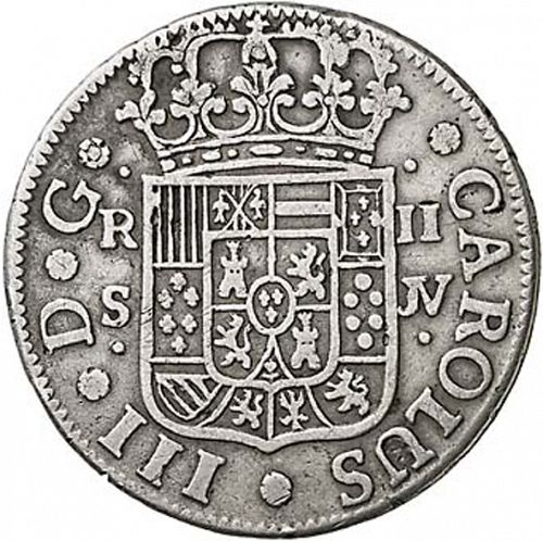 2 Reales Obverse Image minted in SPAIN in 1762JV (1759-88  -  CARLOS III)  - The Coin Database