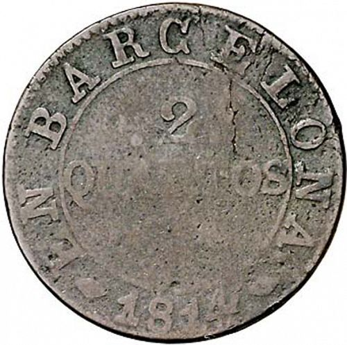 2 Cuartos Reverse Image minted in SPAIN in 1814 (1808-13  -  JOSE NAPOLEON - Barcelona)  - The Coin Database