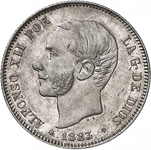 2 Pesetas Obverse Image minted in SPAIN in 1883 / 83 (1874-85  -  ALFONSO XII)  - The Coin Database
