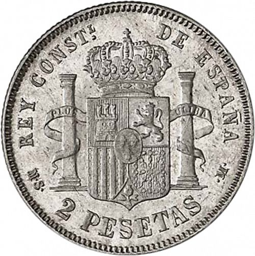 2 Pesetas Reverse Image minted in SPAIN in 1883 / 83 (1874-85  -  ALFONSO XII)  - The Coin Database