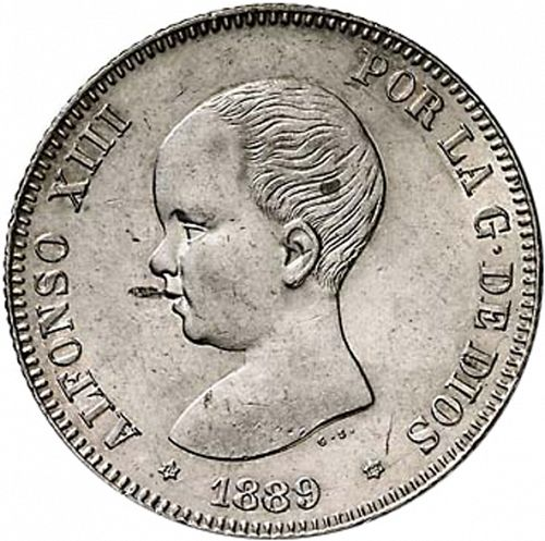 2 Pesetas Obverse Image minted in SPAIN in 1889 / 89 (1886-31  -  ALFONSO XIII)  - The Coin Database