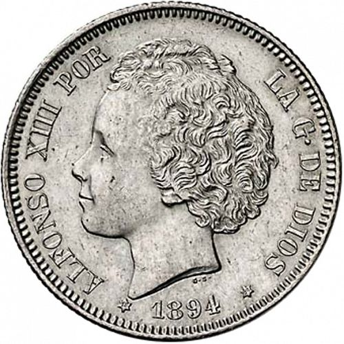 2 Pesetas Obverse Image minted in SPAIN in 1894 / 94 (1886-31  -  ALFONSO XIII)  - The Coin Database
