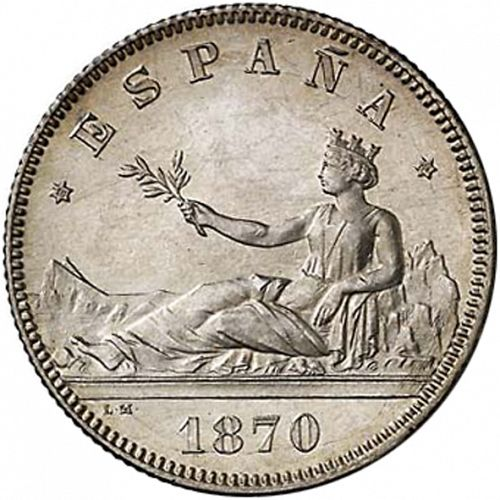 2 Pesetas Obverse Image minted in SPAIN in 1870 / 70 (1868-70  -  PROVISIONAL GOVERNMENT)  - The Coin Database