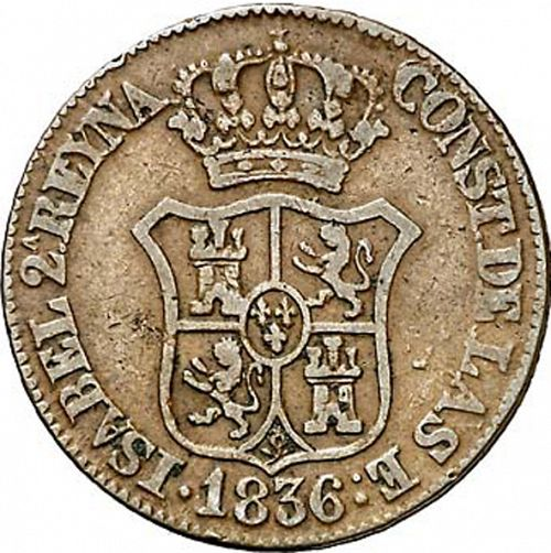 3 Cuartos Obverse Image minted in SPAIN in 1836 (1833-48  -  ISABEL II - Catalonia Principality)  - The Coin Database