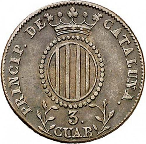 3 Cuartos Reverse Image minted in SPAIN in 1843 (1833-48  -  ISABEL II - Catalonia Principality)  - The Coin Database