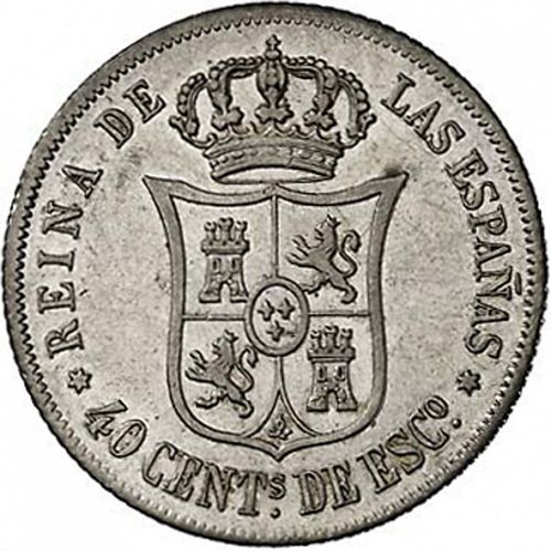 40 Céntimos Escudo Reverse Image minted in SPAIN in 1864 (1865-68  -  ISABEL II - 2nd Decimal Coinage)  - The Coin Database