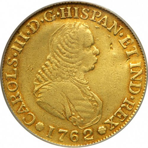 4 Escudos Obverse Image minted in SPAIN in 1762J (1759-88  -  CARLOS III)  - The Coin Database