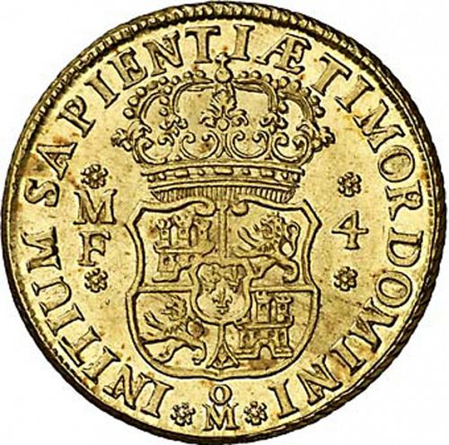 4 Escudos Reverse Image minted in SPAIN in 1743MF (1700-46  -  FELIPE V)  - The Coin Database