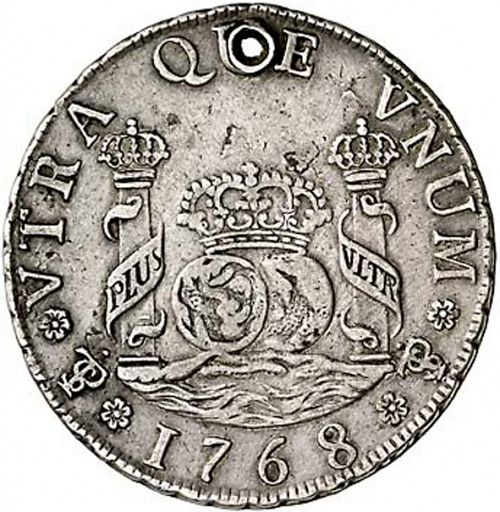 4 Reales Reverse Image minted in SPAIN in 1768JR (1759-88  -  CARLOS III)  - The Coin Database