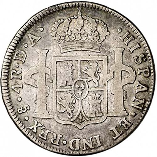 4 Reales Reverse Image minted in SPAIN in 1789DA (1759-88  -  CARLOS III)  - The Coin Database