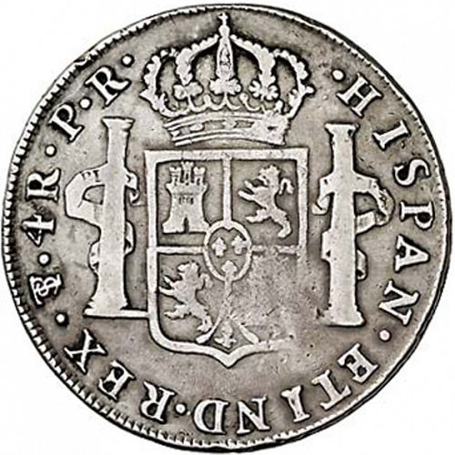 4 Reales Reverse Image minted in SPAIN in 1789PR (1759-88  -  CARLOS III)  - The Coin Database