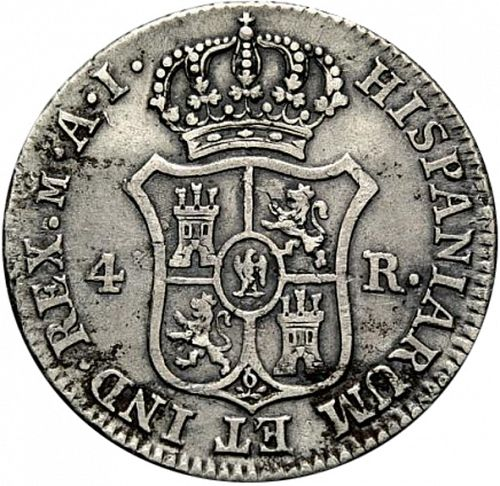 4 Reales Reverse Image minted in SPAIN in 1809AI (1808-13  -  JOSE NAPOLEON)  - The Coin Database